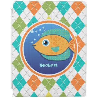 Orange Fish on Colorful Argyle Pattern iPad Cover
