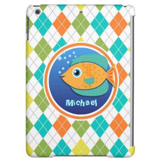 Orange Fish on Colorful Argyle Pattern Case For iPad Air