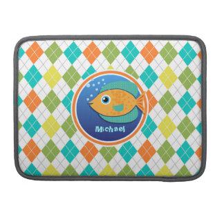 Orange Fish on Colorful Argyle Pattern Sleeves For MacBooks