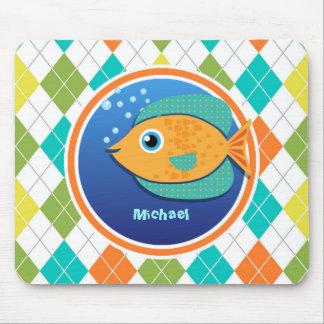 Orange Fish on Colorful Argyle Pattern Mouse Pad