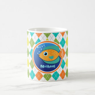 Orange Fish on Colorful Argyle Pattern Coffee Mugs