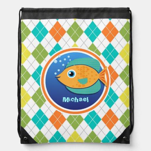 Orange Fish on Colorful Argyle Pattern Drawstring Bags