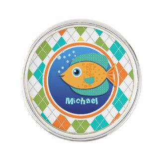 Orange Fish on Colorful Argyle Pattern