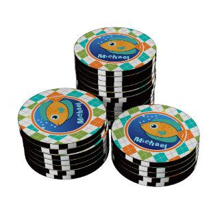 Orange Fish on Colorful Argyle Pattern Poker Chips Set