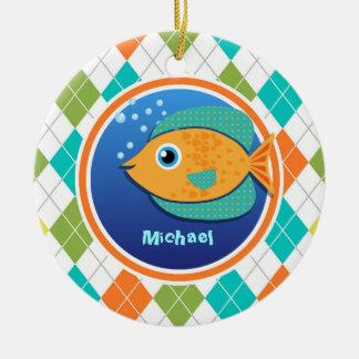 Orange Fish on Colorful Argyle Pattern Round Ceramic Decoration