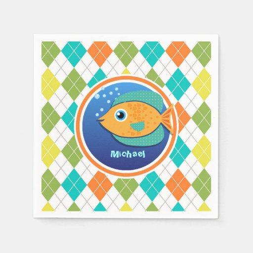 Orange Fish on Colorful Argyle Pattern Disposable Napkins