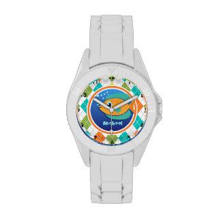 Orange Fish on Colorful Argyle Pattern Wristwatch
