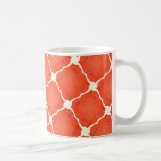 Orange Fishing Net Mosaic Tile Grid Pattern Gifts Coffee Mug