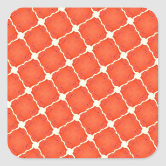 Orange Fishing Net Mosaic Tile Grid Pattern Gifts Square Sticker