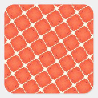 Orange Fishing Net Mosaic Tile Grid Pattern Gifts Square Stickers