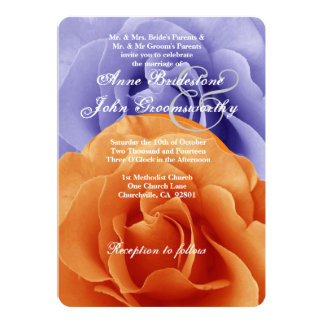 Orange Flame and Purple Rose Wedding Template A5 5x7 Paper Invitation Card