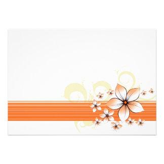 Orange floral border invitations