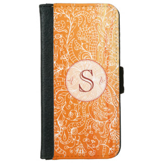 Orange Floral Custom Monogram Iphone 6 Wallet Case
