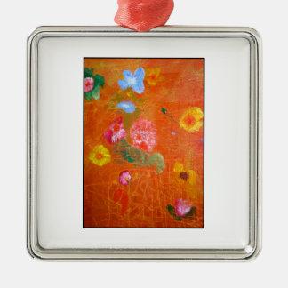 Orange Floral Design. Silver-Colored Square Decoration