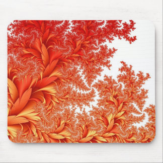 orange floral fractal pattern mouse pad