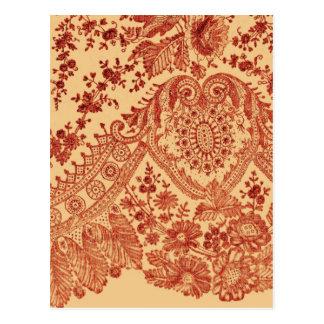 Orange Floral Lace Postcard