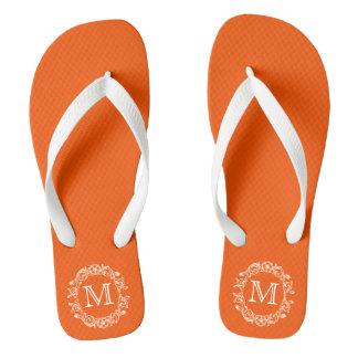 Orange Floral Monogrammed Thongs