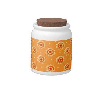 Orange Floral Pattern Candy Jars