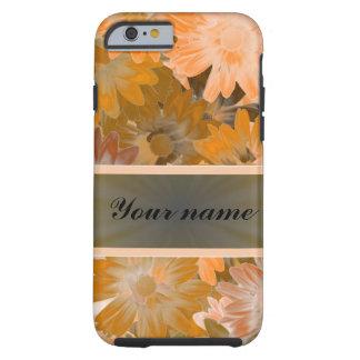 Orange Floral pattern Tough iPhone 6 Case