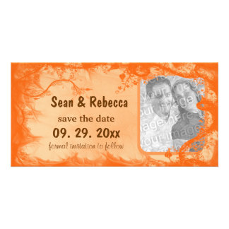 Orange Floral Photo Save The Date Announcement Personalized Photo Card