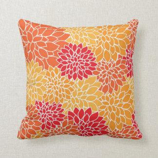 Orange Floral Print Throw Pillow Cushions