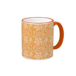 Orange Floral Ringer Mug