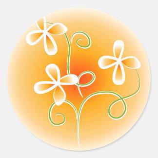 Orange Floral Round Sticker