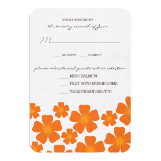 Orange Floral RSVP Card 9 Cm X 13 Cm Invitation Card