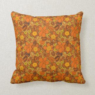 Orange Floral Throw Cushions