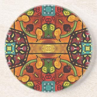 Orange Floral Tiles Beverage Coaster