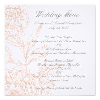 Orange Floral Vintage Wedding Menu Personalised Announcements