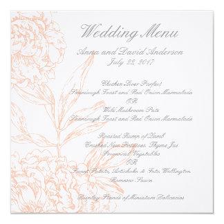 Orange Floral Vintage Wedding Menu 5.25x5.25 Square Paper Invitation Card