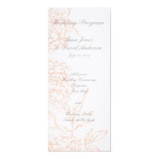 Orange Floral Vintage Wedding Program 4x9.25 Paper Invitation Card