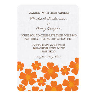 Orange Floral Wedding Invitation