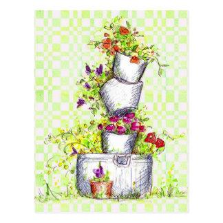 Orange Flower Bucket Stack Cottage Garden Art Postcard