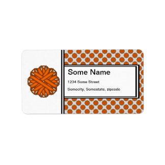Orange Flower Ribbon Label