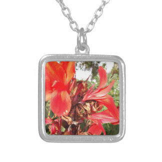 orange flower silver plated necklace