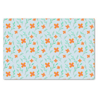 Orange Flowers and Green Sprigs Tissue Paper