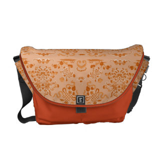 Orange Flowers and Shapes Commuter Bags