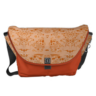 Orange Flowers and Shapes Courier Bag