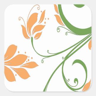 Orange Flowers on White Sticker