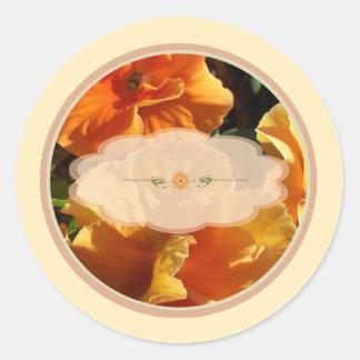 Orange Flowers Spice Jar Labels Round Stickers