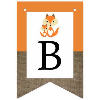 Orange Fox Burlap Baby Shower Bunting