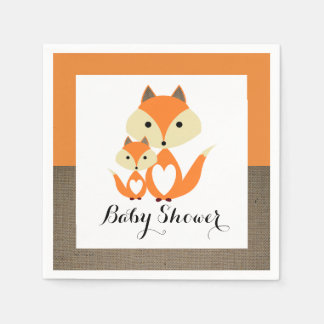 Orange Fox Burlap Baby Shower Disposable Napkin