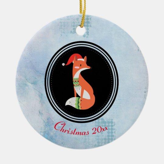 Orange Fox in Red Santa Hat Merry Christmas Christmas Ornament