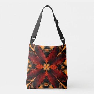 Orange Fractal Flower Crossbody Bag