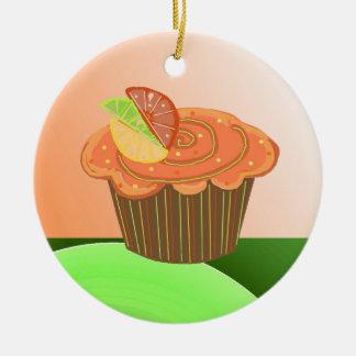 Orange Fruit  Cupcake Christmas Ornament