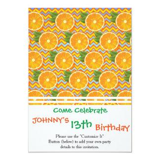Orange Fruit on Colors Chevrons and Blue 13 Cm X 18 Cm Invitation Card