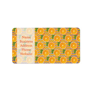Orange Fruit on Colors Chevrons and Blue Address Label