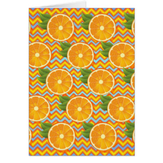 Orange Fruit on Colors Chevrons and Blue Greeting Card